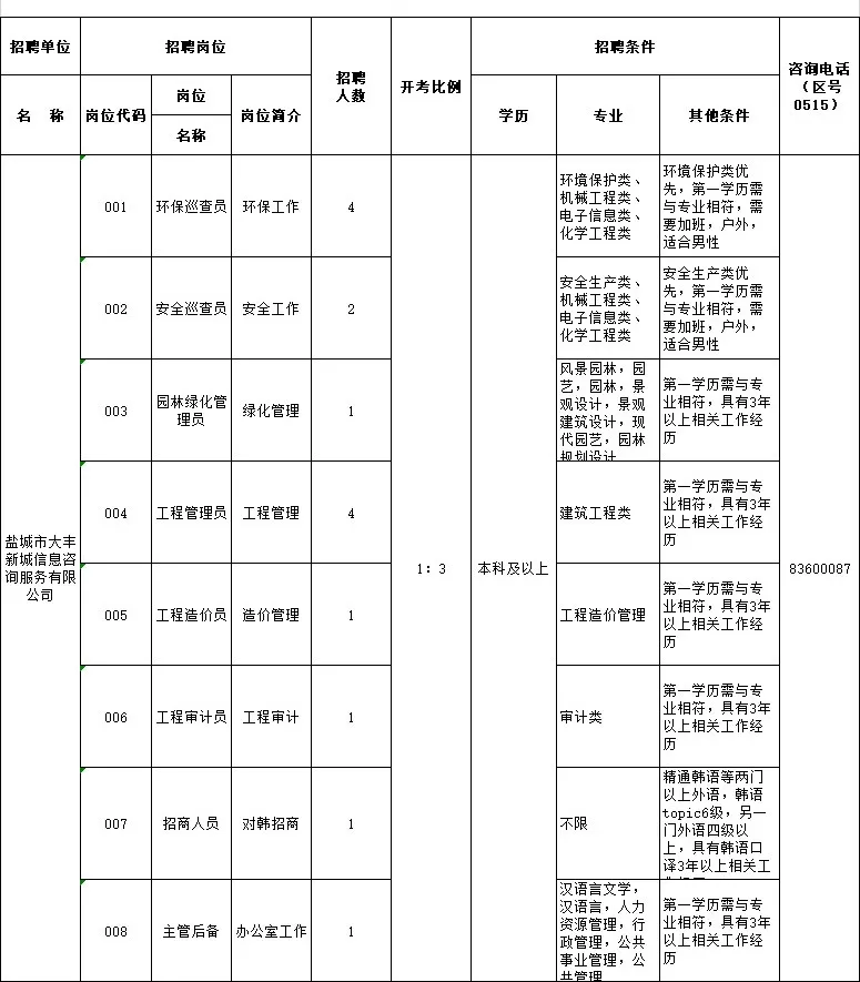 大豐開發區下屬國企新城信息咨詢有限公司招聘工作人員15名
