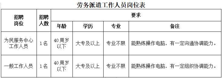大丰区大桥镇人民政府公开招聘劳务派遣工作人员2名
