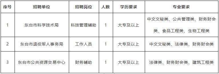 东台市招聘劳务派遣合同制工作人员3名