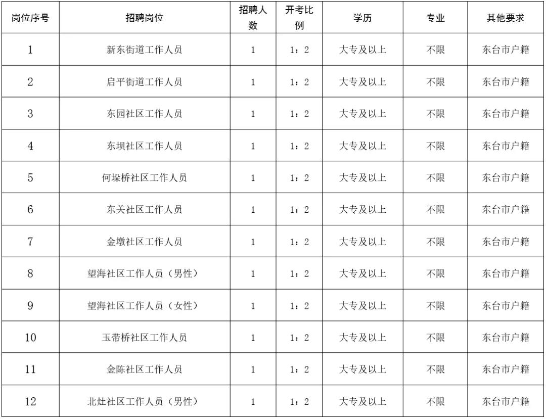 2021年东台市东台镇公开招聘劳务派遣工作人员岗位表