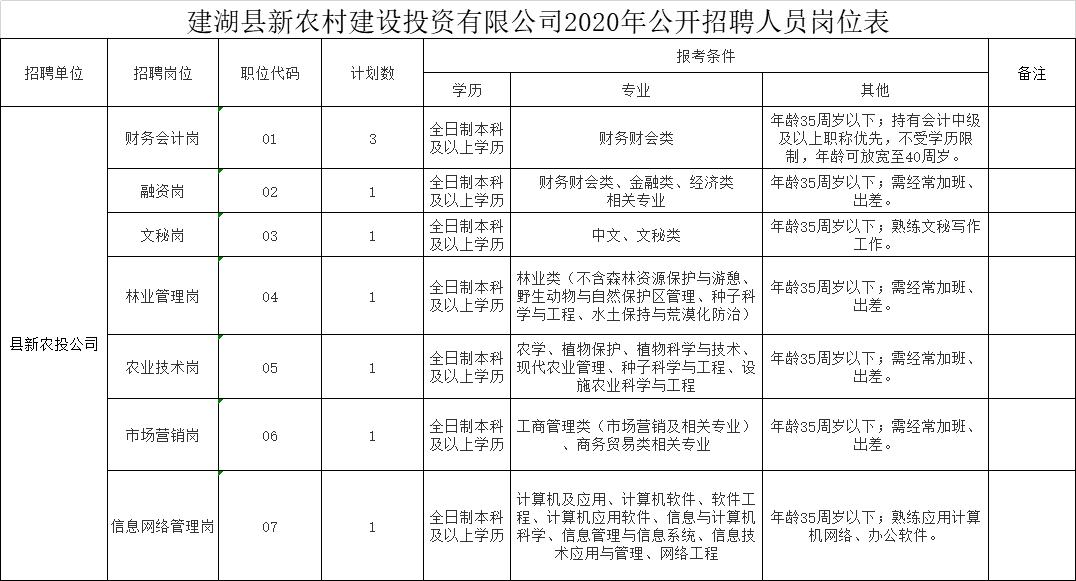 建湖縣新農村建設投資有限公司2020年公開招聘人員崗位表