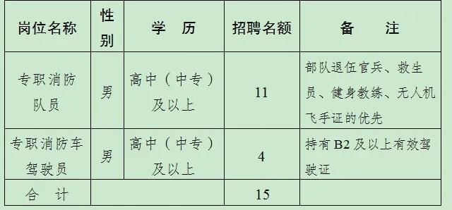 建湖县消防救援大队招聘政府专职消防队员15名