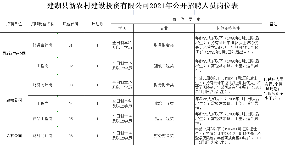 建湖县新农村建设投资有限公司2021年公开招聘人员岗位表