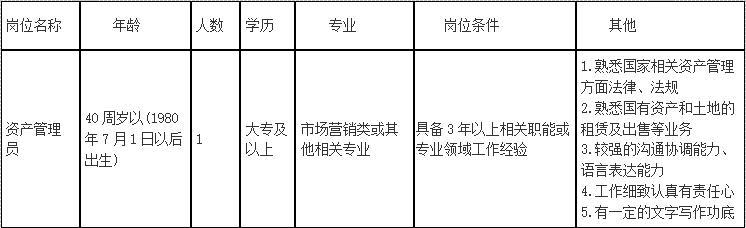 南通国有不动产经营管理有限公司招聘派遣员工1名