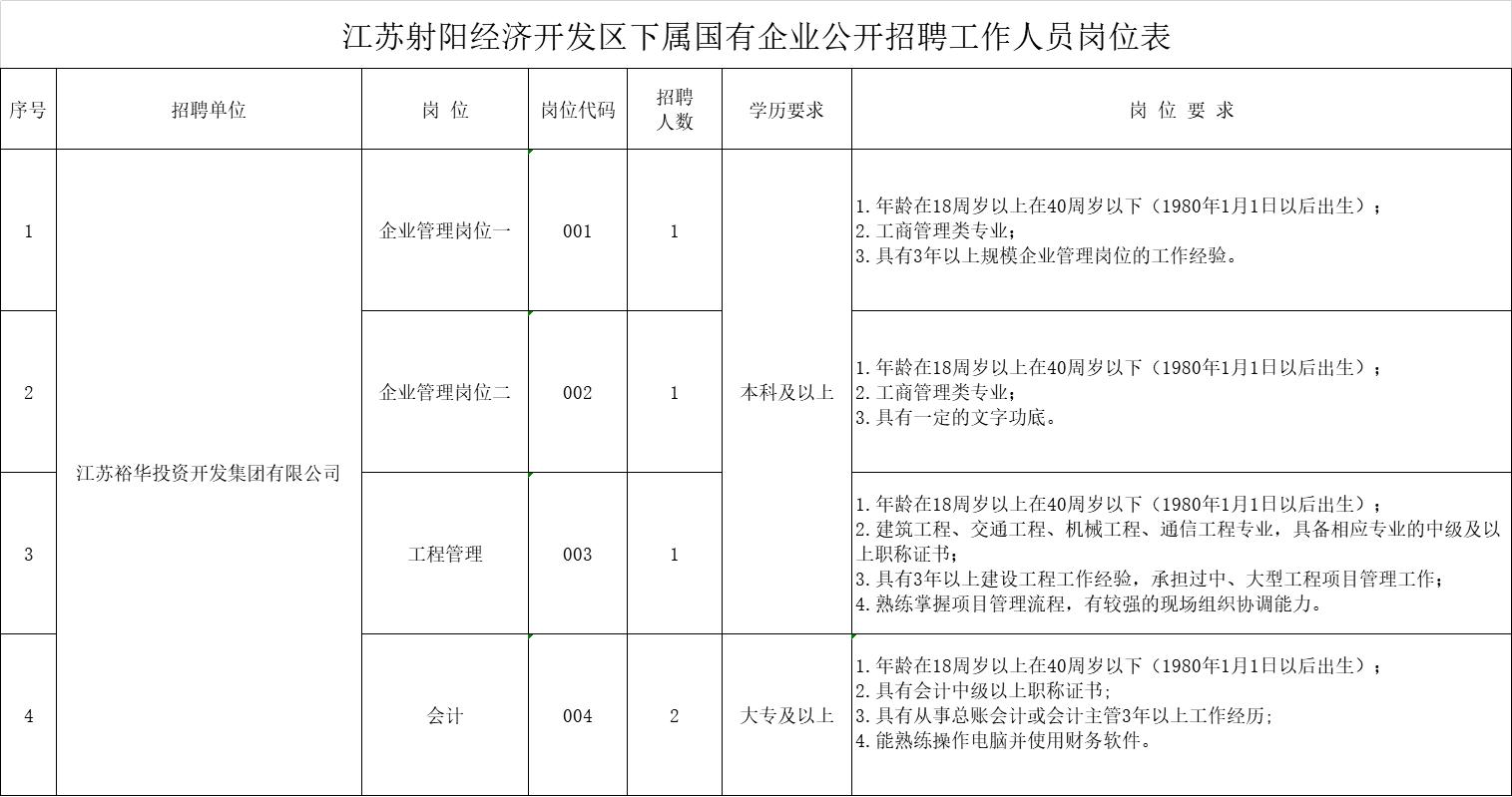 江苏射阳经济开发区下属国有企业公开招聘工作人员岗位表