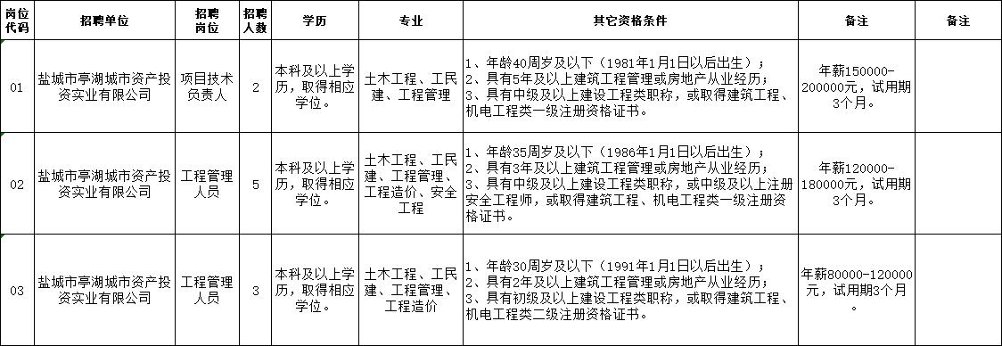 盐城市亭湖城市资产投资实业有限公司公开招聘工作人员岗位表